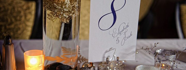 Place card and centerpieces