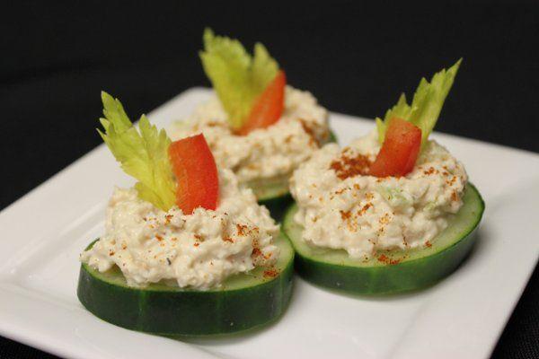 Chicken salad and cucumber sandwiches
