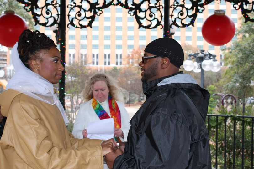Couple exchanging vows
