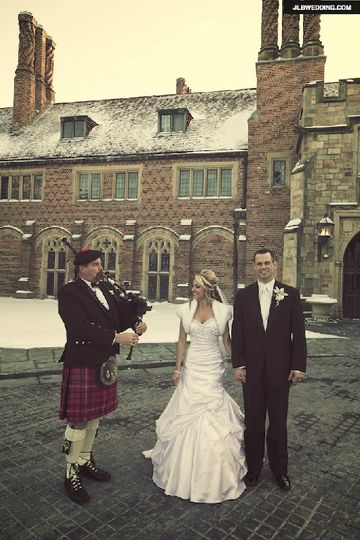 Posing for pictures after the ceremony. A beautiful light snow had just fallen that morning at...