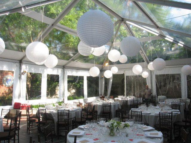 Reception tent decor