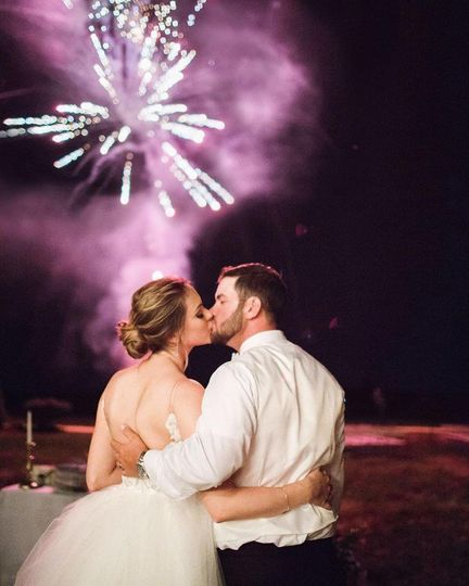 Couple under the fireworks display