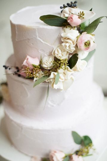 Three tier cake with flowers