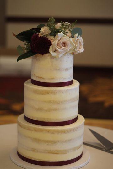 Naked Cake with Ribbon Edges