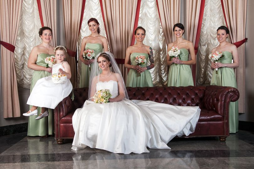 Bride, bridesmaids and flower girl.
