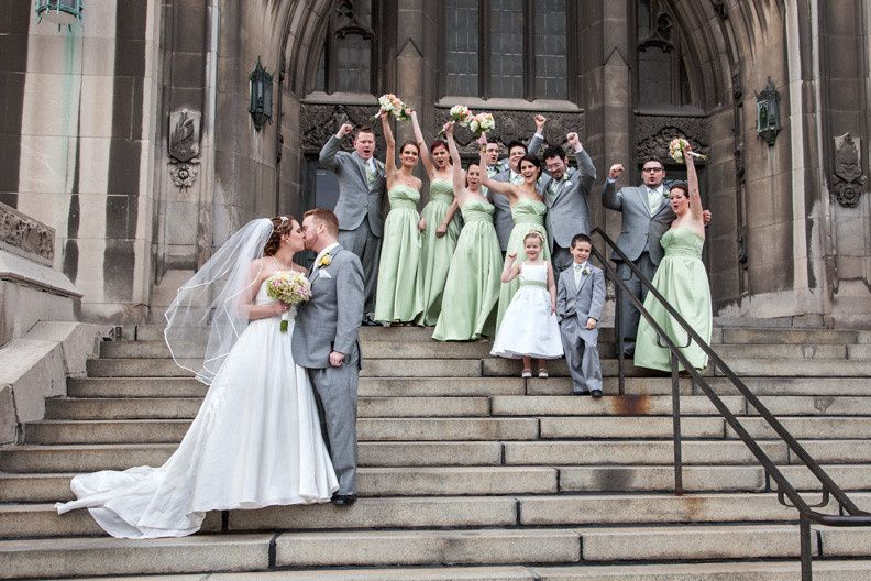 Bridal party on the front steps of the Masonic Temple in Detroit.