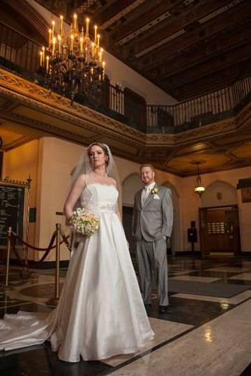 Bride and Groom in lobby of Masonic Temple in Detroit