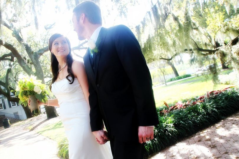Just married in beautiful Calhoun Square, Savannah, GA