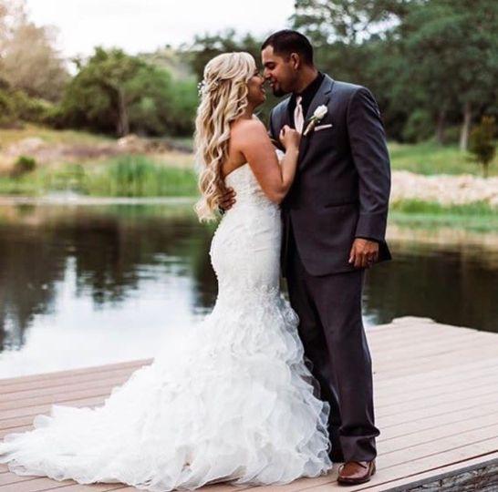 Newlyweds on the boardwalk