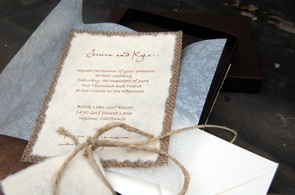 This invitation is printed on handmade mullberry paper and back with real burlap. Customized to your...