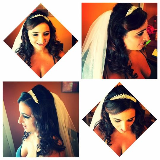 Different views of the bride's hairstlye