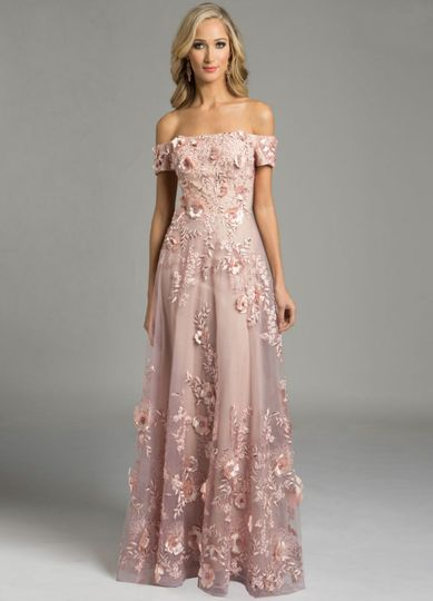 Off the shoulder gown in dusty mauve embroidered net with 3D flowers and beads available at the new...