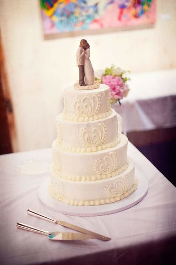 Four tier simple wedding cake