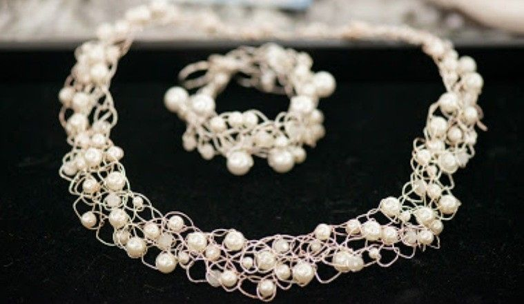 Crocheted Bracelet and Necklace Set designed and created by Mystic Angel Creations. Materials used:...