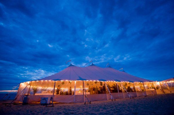 Exterior of the tent at dusk