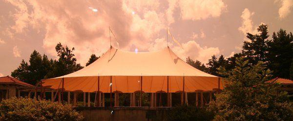 Tent exterior at sunset