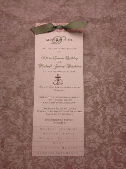 Layered tea-length layered wedding program