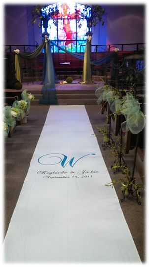 Hand Painted Fabric Wedding Aisle Runner