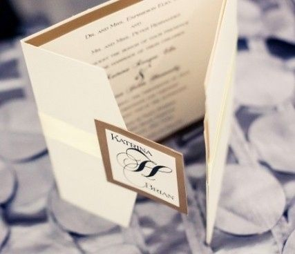 Custom Square Layered Pocketfold Invitation Metallic card stock and double-faced satin ribbon...