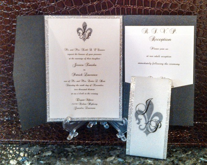 Metallic Black Pocketfold wedding invitation (inside) with glitter backing card stock and insert...