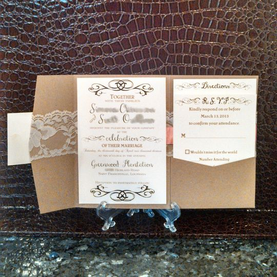 Vintage Kraft Ribbon and Lace Pocketfold Wedding Invitation