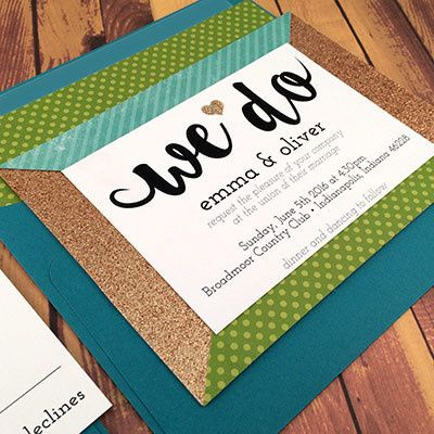 Tmx 1464362430590 Glitter Green Teal Indianapolis, Indiana wedding invitation