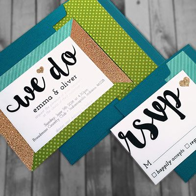 Tmx 1464362430590 Glitter Green Teal2 Indianapolis wedding invitation