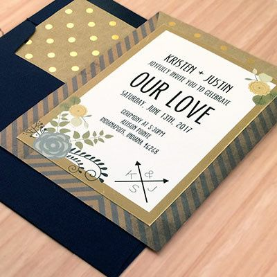 Tmx 1464362437255 Gold Navy Invite Indianapolis wedding invitation