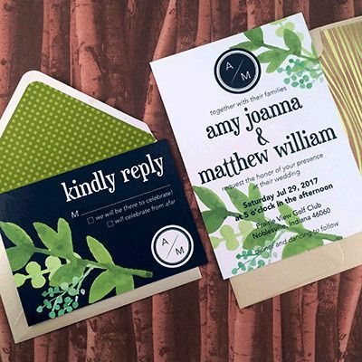 Tmx 1465439396950 Greenery Navy Indianapolis wedding invitation