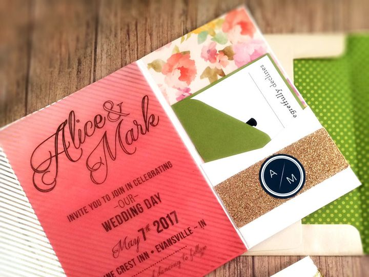 Tmx 1473535179137 Coral Floral Pocket 1 Indianapolis wedding invitation
