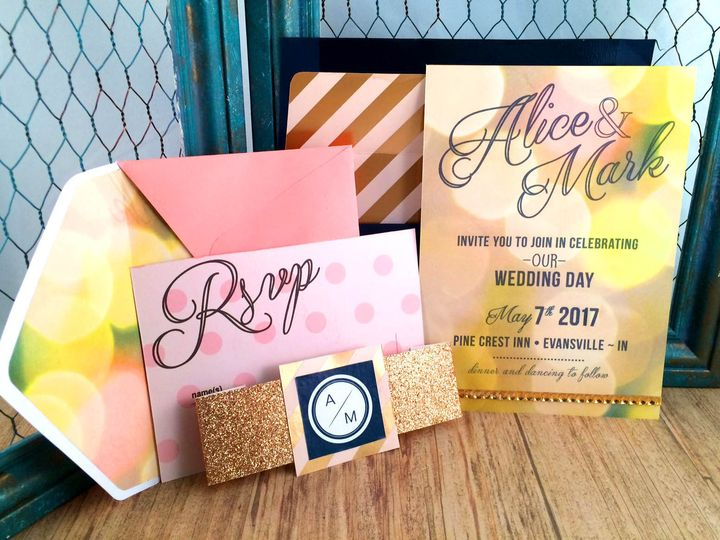 Tmx 1473649210784 Navy Bokeh Set2 Indianapolis wedding invitation