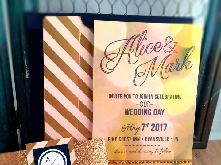 Tmx 1473649220489 Navy Bokeh Set3 Indianapolis wedding invitation