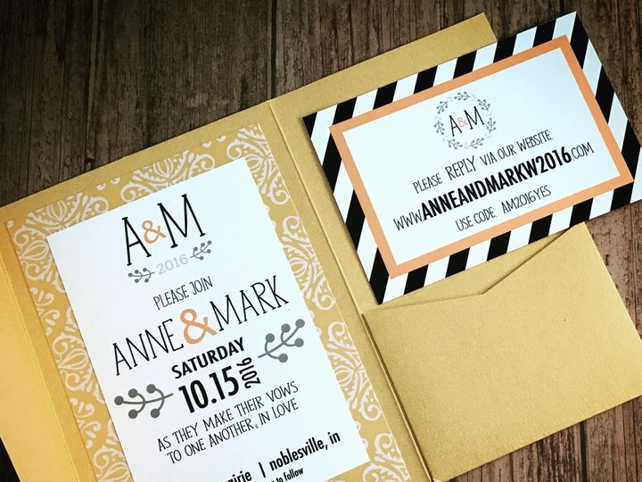 Tmx 1476833661986 Navygoldmcm 2 Indianapolis wedding invitation