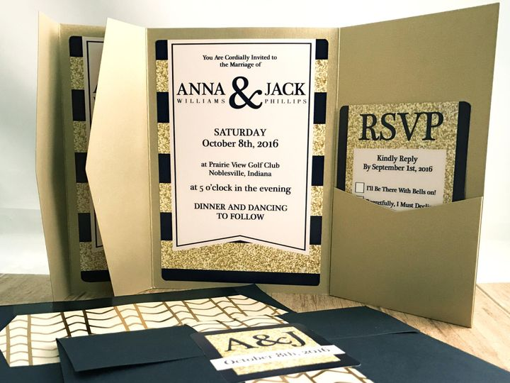 Tmx 1476833702725 Navy Gold Pocket 2 Indianapolis wedding invitation