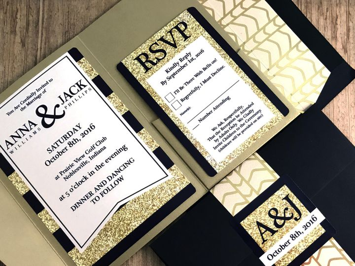 Tmx 1476833722100 Navy Gold Pocket Indianapolis wedding invitation