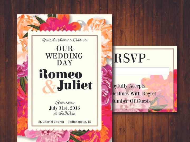 Tmx 1481214354392 Floral Brights Indianapolis wedding invitation