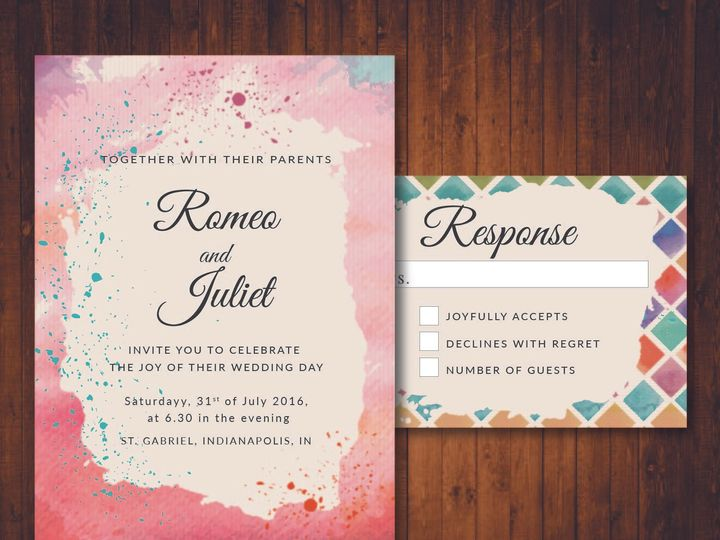 Tmx 1481214390390 Watercolor Geo Indianapolis wedding invitation