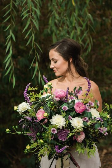 pink purple white garden bouquet