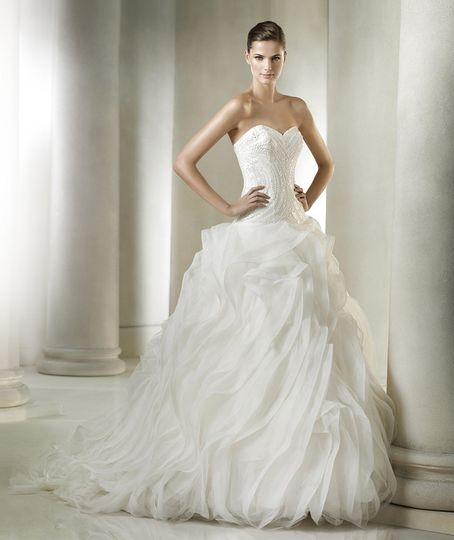 Ball gown with frills