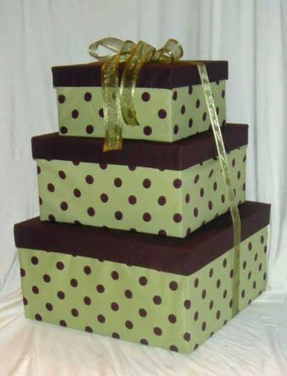 Green Brown Polka Dot Card Box