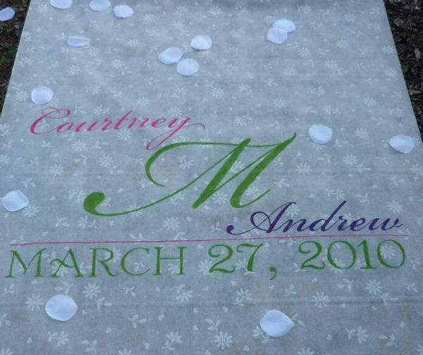 Handpainted monogram aisle runner