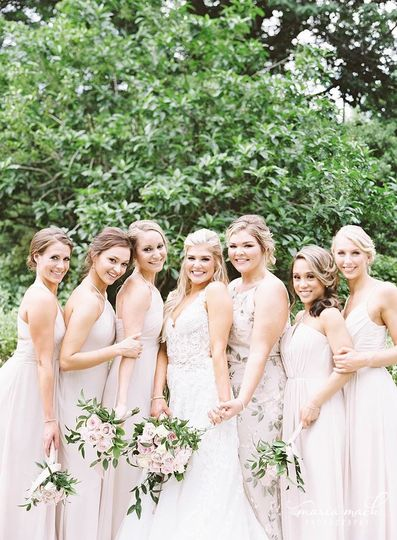 Hand-tied blush pink bouquets