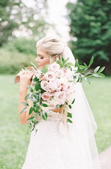 A beautiful bride with her beautiful bouquet