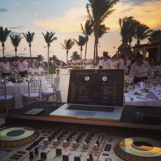 DJ set-up at the beach