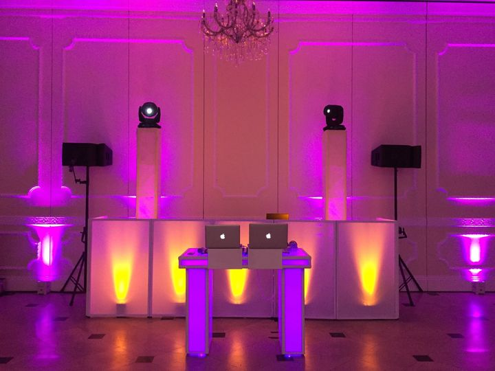 DJ set-up with violet lights