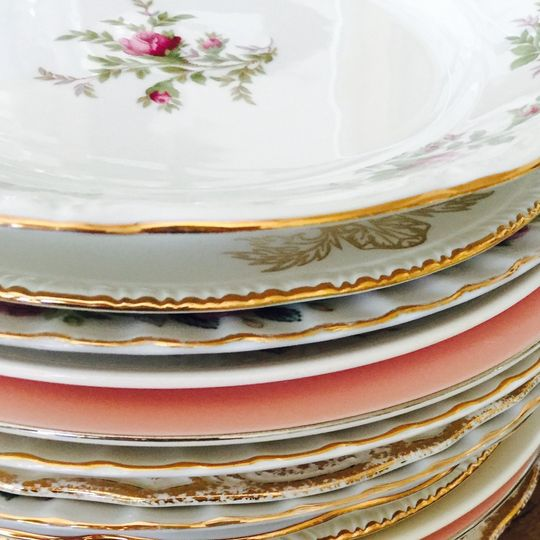 A stack of vintage plates