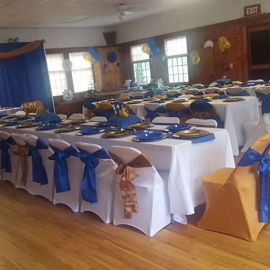 Gold and blue themed reception