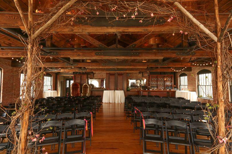 Indoor wedding venue setup
