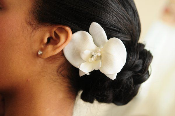 Floral hair accessory in a bun