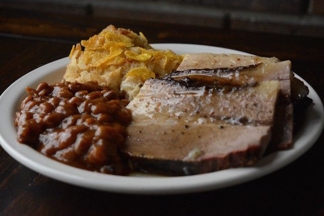 Crazy Bob's Maximum Bar B Que Smoked Brisket Cheesy Hashbrowns and Baked Beans.  Also available from...